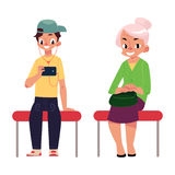 Two antipode subway passengers - plump woman, housewife, young man, student Stock Image