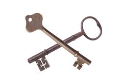 Two antique keys isolated Stock Photography