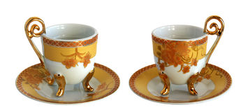 Two Antique porcelain cups and saucers Stock Photography