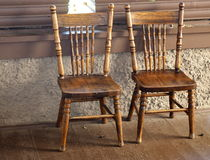 Two Antique Press Back Chairs Royalty Free Stock Images