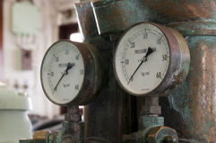 Two antique pressure gauges Stock Photos