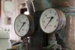 Two antique pressure gauges. At Hikawa Maru ship, Yokohama, Japan Stock Photos