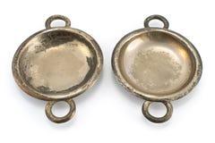Two antique silver ashtrays Stock Photos