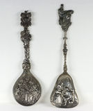 Two antique silver teaspoons Royalty Free Stock Images