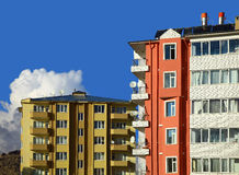 Two Apartment Buildings. Cloudy Sky Royalty Free Stock Photography