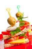 Two appetizer sandwiches Stock Photos