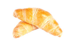 Two appetizing croissant on white background Royalty Free Stock Photography