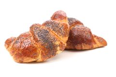 Two appetizing croissants with poppy. Royalty Free Stock Images