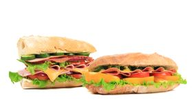 Two appetizing sandwiches with cheese. Stock Photography