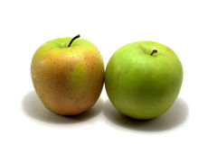 Two apple. Isolated two green apple in a white Stock Photo