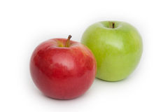 Two apple. Green and red stock photo