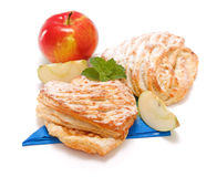 Two apple cakes and apple decoration Royalty Free Stock Photography