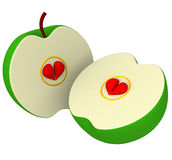 Two apple halves with seeds as hearts 3d Stock Photography