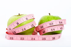 Two Apple and a Measure Tape Stock Image