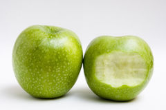 Two apple, one bite Stock Photography