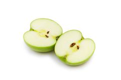 Two apple pieces isolated. On the white Stock Photo