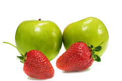 Two apple with strawberry Stock Image