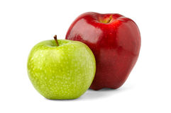 Two apples. Red and green apples isolated on white background stock photos