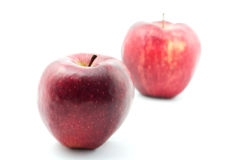 Two apples. On white background with small shadows Royalty Free Stock Photos