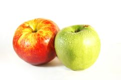 Two Apples. Green and red apples isolated Stock Photos