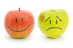 Two apples with emotions Royalty Free Stock Image