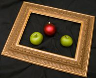 Two apples and fir-tree marble Stock Images
