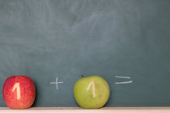 Two apples in front of a blackboard Stock Image