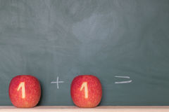 Two apples in front of a blackboard Royalty Free Stock Photo