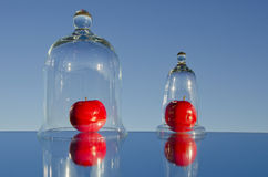 Two apples in the glass jars and mirror Royalty Free Stock Image
