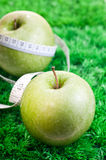 Two apples on grass with tape measure Royalty Free Stock Image