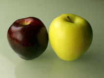 Two apples on green background. Still Life with two apples red green dark red on glass background Royalty Free Stock Images