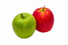 Two apples of green and red color with drops of wa Stock Photo