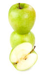 Two apples and half of apple Stock Image