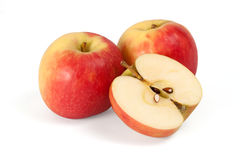 Two apples and half apple sliced Stock Photo