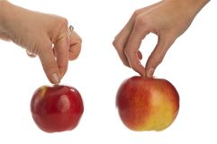 Two apples in hands Stock Images