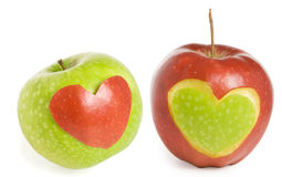 Two apples with heart. Two fresh apples with heart Royalty Free Stock Images