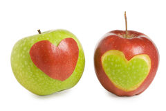 Two apples with heart. Silhouette Royalty Free Stock Images