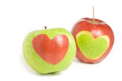 Two apples with heart. Silhouette Stock Image