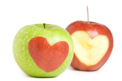 Two apples with heart. Silhouette Royalty Free Stock Photo