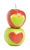 Two apples with heart. Silhouette Stock Images
