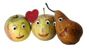 Two apples with the heart and a PEAR Royalty Free Stock Photo