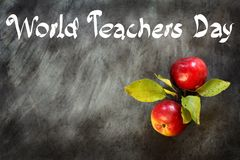World Teachers Day. Two apples and an inscription on the background of a school blackboard royalty free stock photography