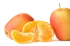 Two apples and mandarin Royalty Free Stock Photos