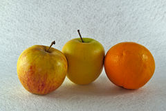 Two apples and one orange Stock Image
