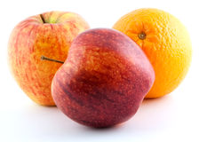 Two apples & orange Stock Images