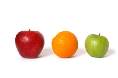 Two apples and orange royalty free stock image