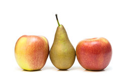 Two apples and pear. Two red-yellow apples and pear on a white background Royalty Free Stock Images