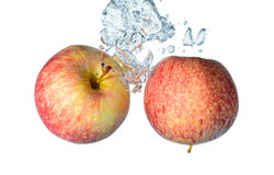 Two Apples. Two red apples dropped into water royalty free stock images