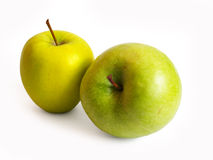 Two apples on white. Two green apples isolated on white background with clipping path Stock Photography