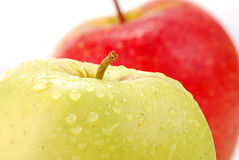Two apples on white background. Composition with two ripe apples on white with visible drops of water Stock Image